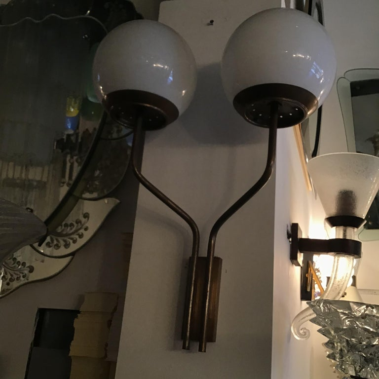 Candle Sconces Two Lights Brass Glass, 1960, Italy In Good Condition For Sale In Milano, IT
