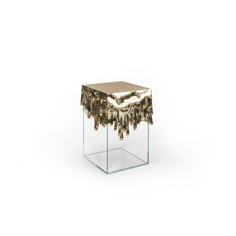 Portuguese 21st Century Candle Side Table in Polished Brass Cast and Glass Base For Sale