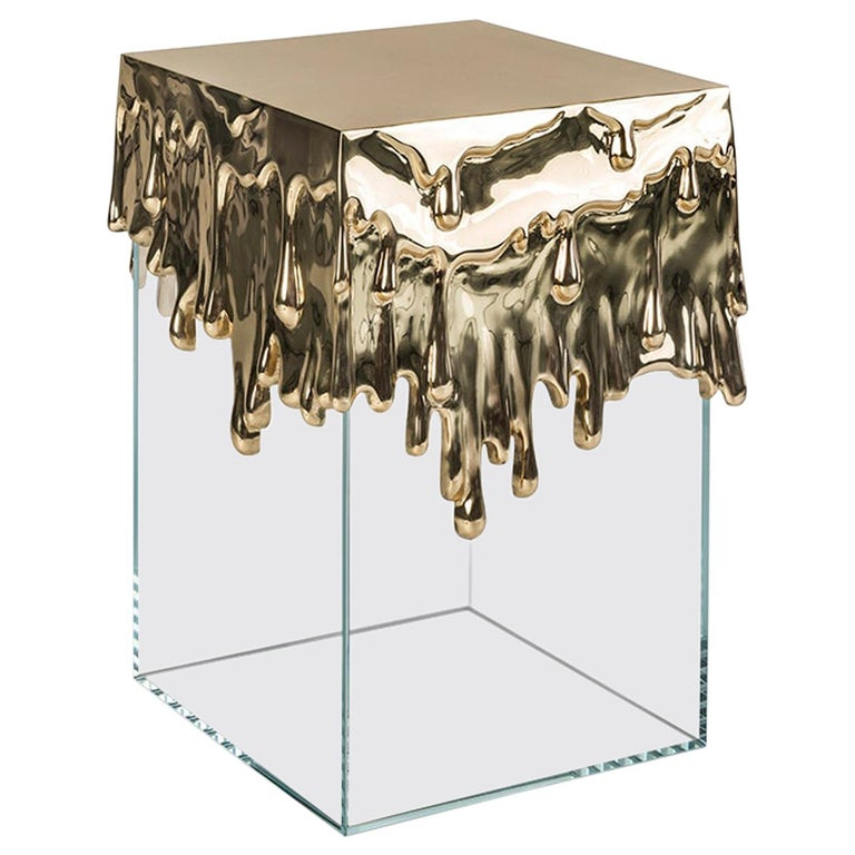 21st Century Candle Side Table in Polished Brass Cast and Glass Base For Sale