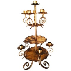 Candleholder, 10 Candles Votive , Wrought Iron Golden, Early 20th Century