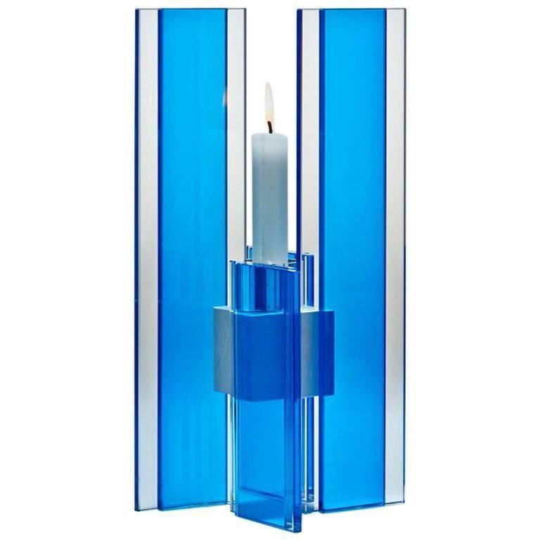 Candleholder Deco Design Tabletop Glass Aluminium Contemporary Blue