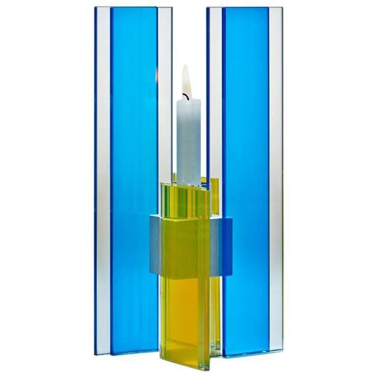Candleholder Deco Design Tabletop Glass Aluminium Contemporary Blue Yellow