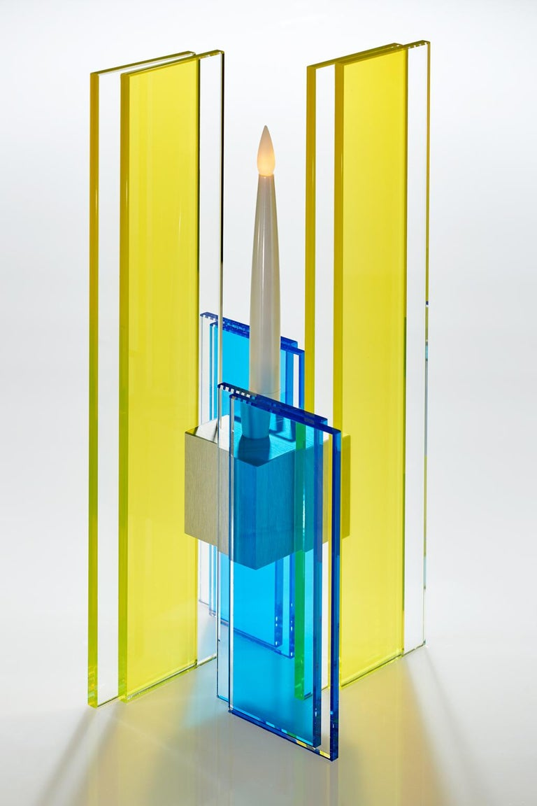 Modern Candleholder Deco Design Tabletop Glass Aluminum Contemporary Yellow Blue For Sale