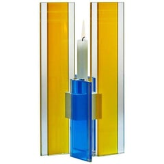 In Stock Candleholder Deco Design Tabletop Glass Aluminum Yellow Blue