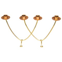 Candleholder for 4 Candles Execution in Copper and Brass, circa 1950s