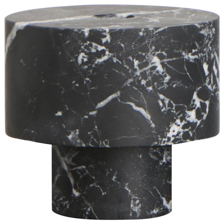 Candleholder in Black Marble, by Karen Chekerdjian, Made in Italy in Stock