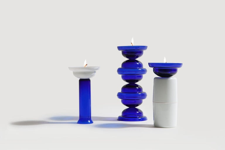 Glazed Candleholder in blue and white glass For Sale