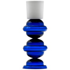 Candleholder in blue and white glass