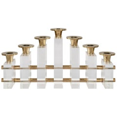 Lucite and Brass Candle Holder Candelabra by Charles Hollis Jones