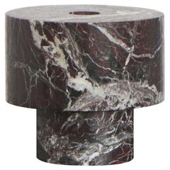 Candleholder in Red Marble, by Karen Chekerdjian, Made in Italy in stock