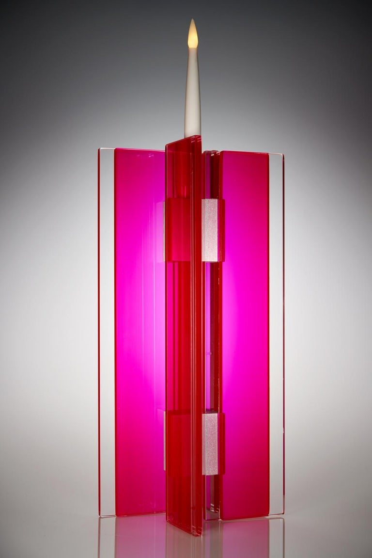 Anodized Candleholder Majestic Design Tabletop Glass Aluminium Contemporary Red For Sale