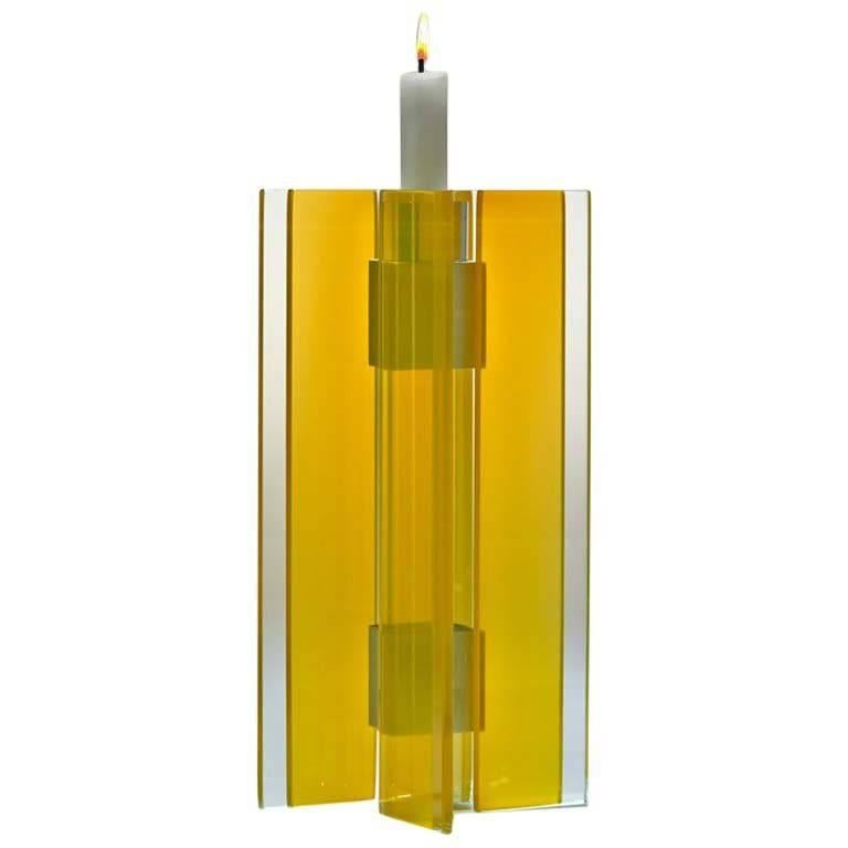 Candleholder Majestic Design Tabletop Glass Aluminium Contemporary One of a Kind