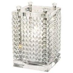 Candleholder Nefertari Square Big, Glass and Crystal Drops, Italy