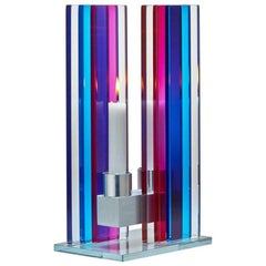 Contemporary Blue & Pink Glass & Aluminum Candlestick