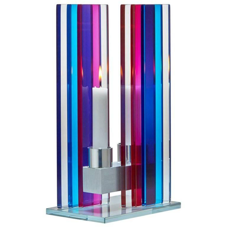 In Stock Candleholder Unified Light Tabletop Glass Aluminum Blue Red For Sale