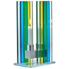 Contemporary Blue & Yellow Glass & Aluminum Candlestick