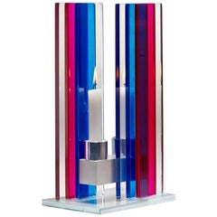 Contemporary Pink & Blue Glass & Aluminum Candlestick