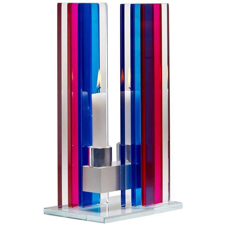 Candleholder Unified Light Tabletop Glass Aluminium Contemporary Red Blue
