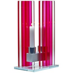 Contemporary Pink Glass & Aluminum Candlestick