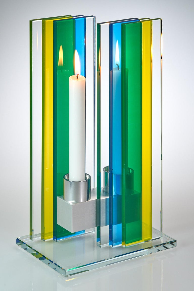 American Candleholder Unified Light Tabletop Glass Aluminium Contemporary Yellow Blue For Sale