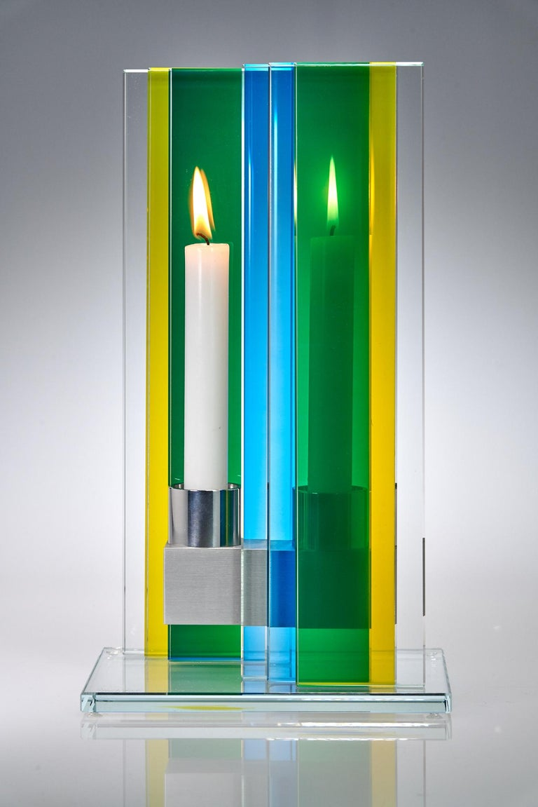 Anodized Candleholder Unified Light Tabletop Glass Aluminium Contemporary Yellow Blue For Sale