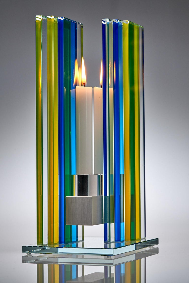 Candleholder Unified Light Tabletop Glass Aluminium Contemporary Yellow Blue In New Condition For Sale In Waltham, MA
