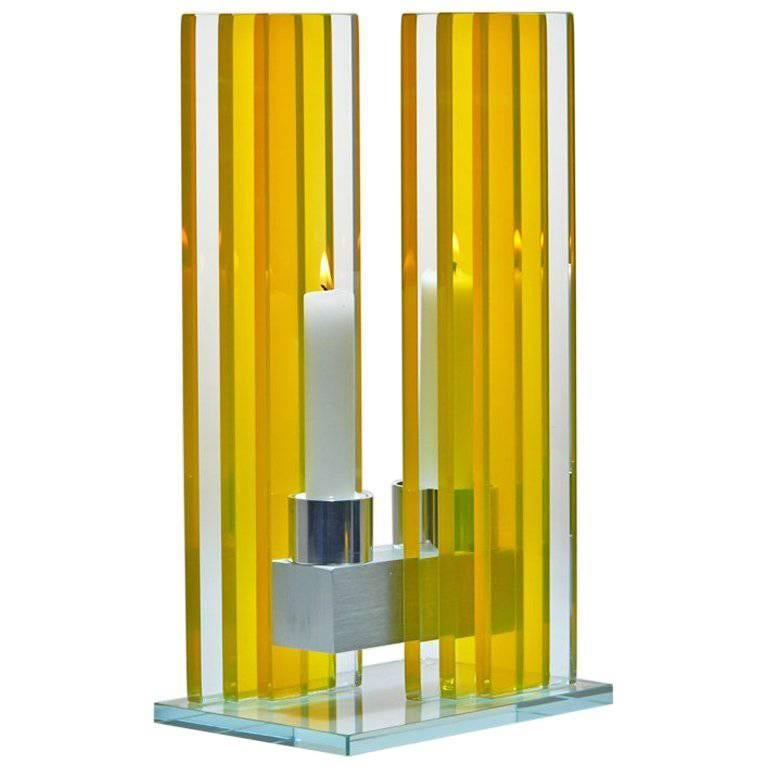 Contemporary Yellow Glass & Aluminum Candlestick For Sale