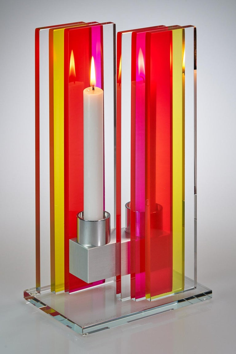 American Candleholder Unified Light Tabletop Glass Aluminium Contemporary Yellow Red For Sale