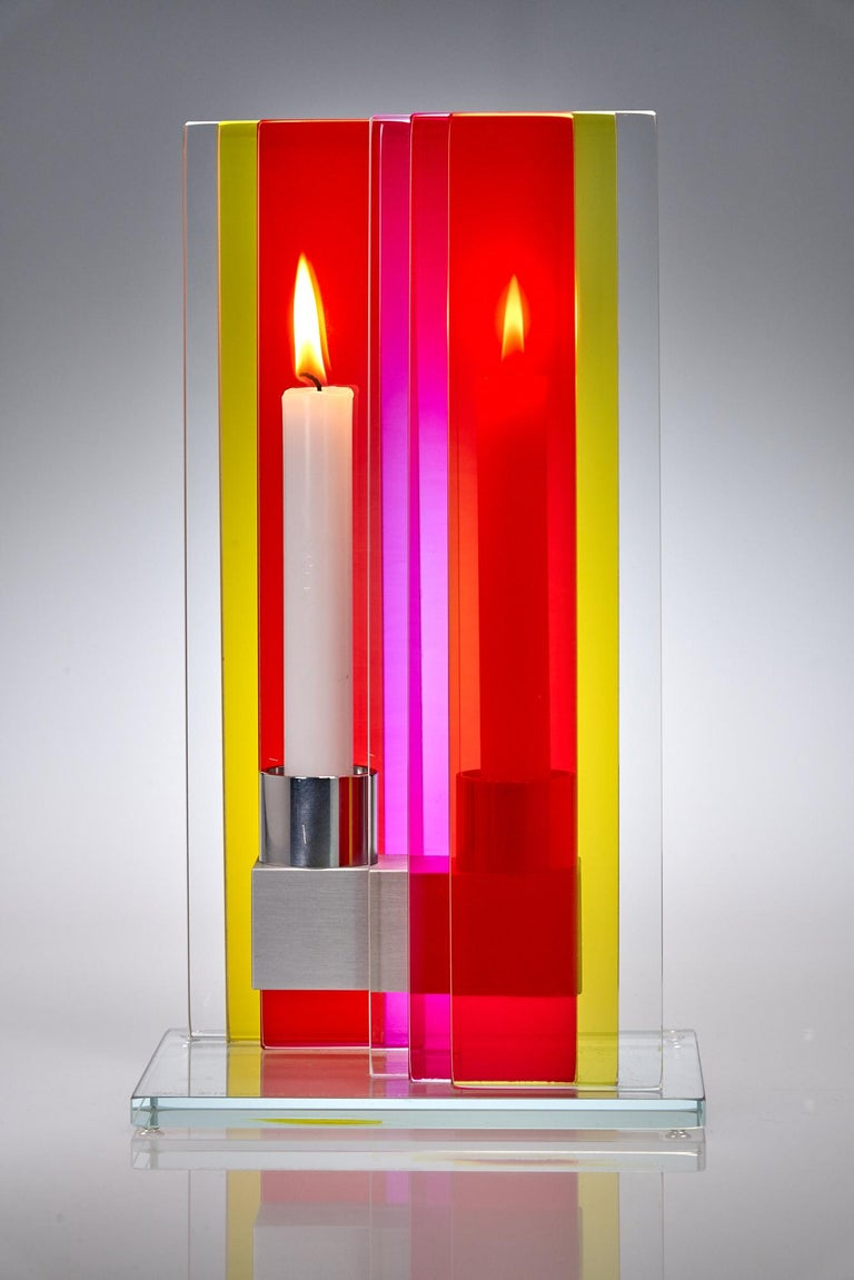 Anodized Candleholder Unified Light Tabletop Glass Aluminium Contemporary Yellow Red For Sale