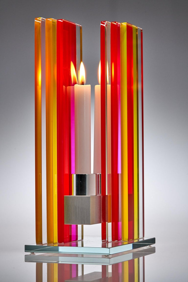 Candleholder Unified Light Tabletop Glass Aluminium Contemporary Yellow Red In New Condition For Sale In Waltham, MA