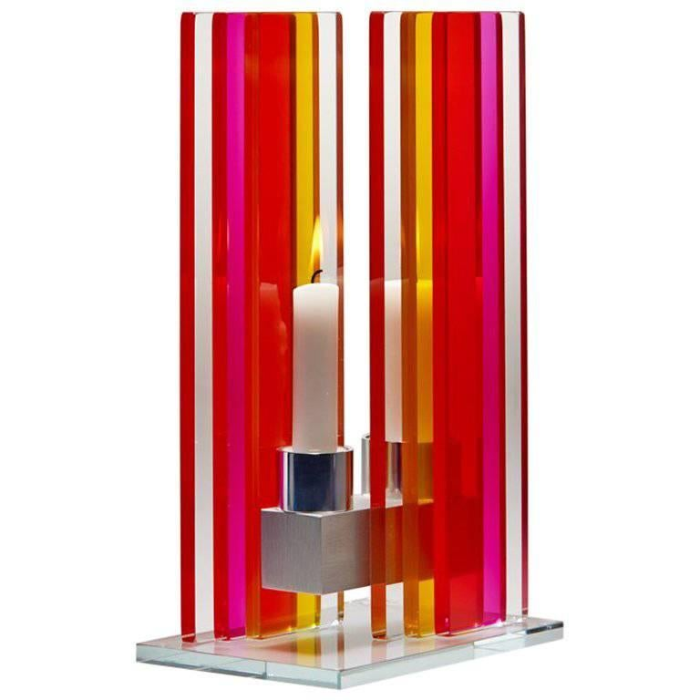 In Stock Candleholder Unified Light Tabletop Glass Aluminum Red Yellow For Sale