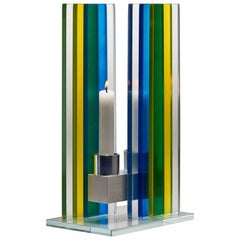 Contemporary Yellow & Blue Glass & Aluminum Candlestick