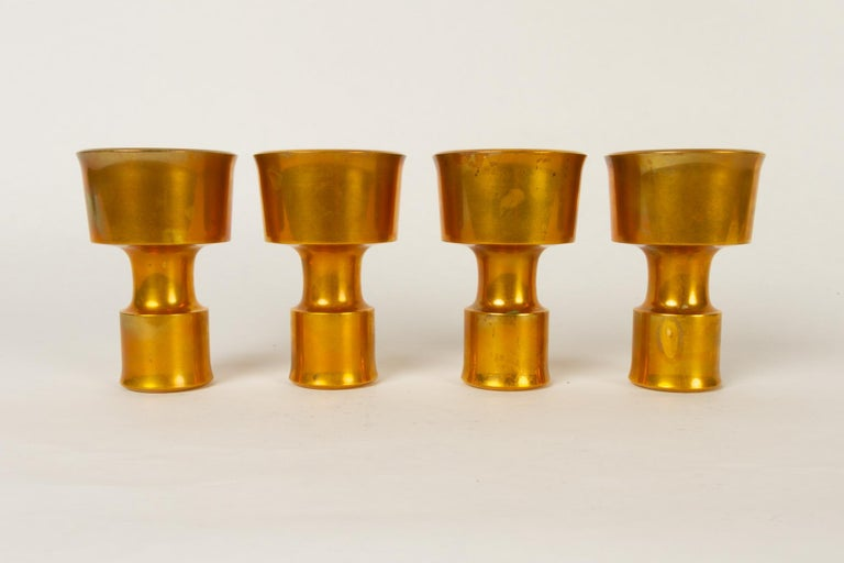 Brass Candleholders by Jens H. Quistgaard for Dansk Designs 1960s Set of 4 For Sale