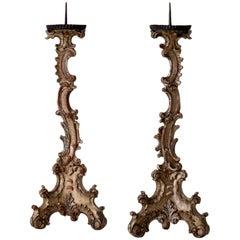 Candleholders Italian Tall Rococo Period 18th Century, Italy