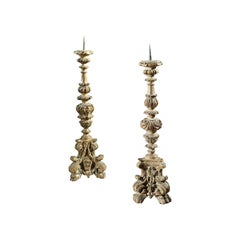 Candlestick, Pair, Italian, 19th Century, Baroque-Style, Beech, Carved