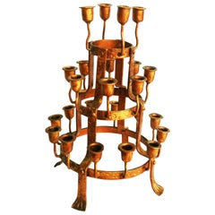 CandlestickVotive Church, for 24 Candles, Made in Wrought Iron Golden, Spain