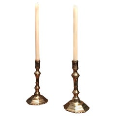 Candlesticks Candleholder Light in Brass Antique Object Decorative Accent, Pair