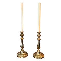 Candlesticks Candleholder Light in Brass Antique Object Decorative Accent, Pair