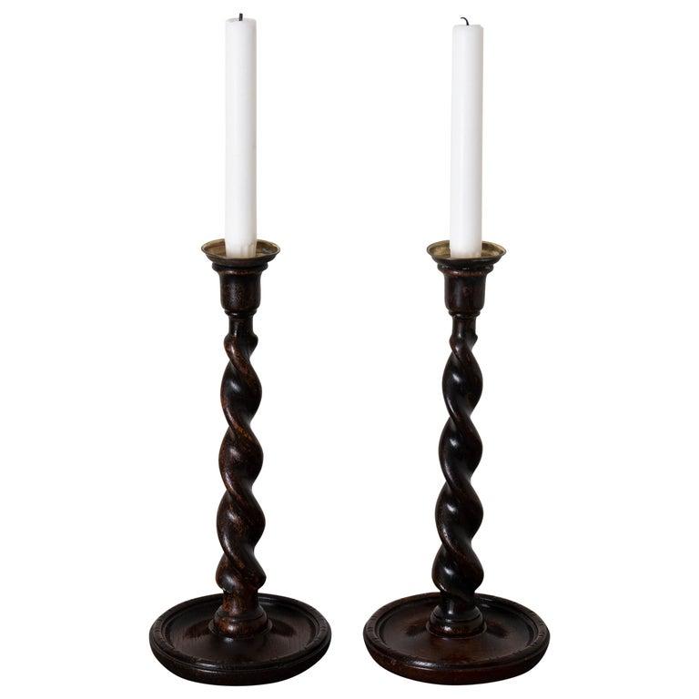 Candlesticks English Spiral Oak Brass Brown 19th Century England For Sale