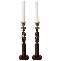 Candlesticks Gustavian Pair Swedish 18th Century Red Marble Dark Bronze Sweden