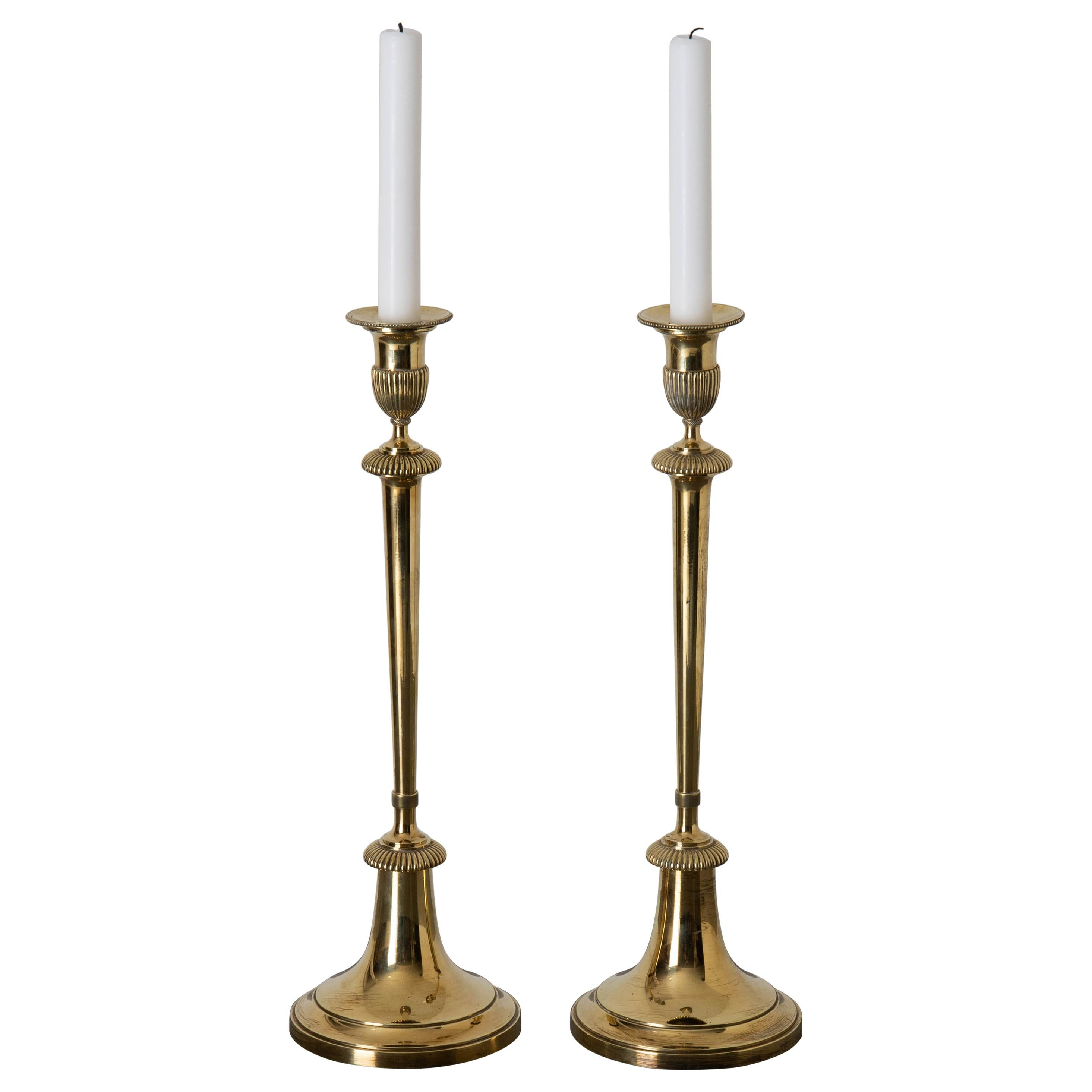 Candlesticks Gustavian Swedish 18th Century Brass, Sweden