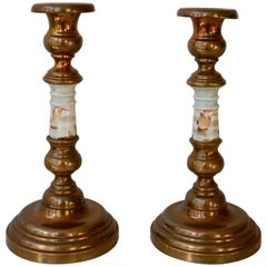 Candlesticks in Copper and Porcelain