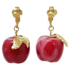 Candy Apple Red Bakelite Dangle Earrings, Gold Clip On, Mid 1900s