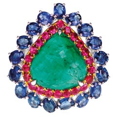 Candy Collection Comprising Emerald Ruby Sapphire Bridal Wedding Ring