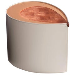 """Candy"" Leather and Copper Leaf Side Table by Artist Florian Roeper"