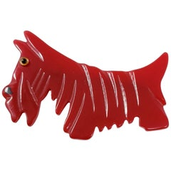 Candy Red Bakelite Schnauzer Dog Pin Brooch, Early 1900s