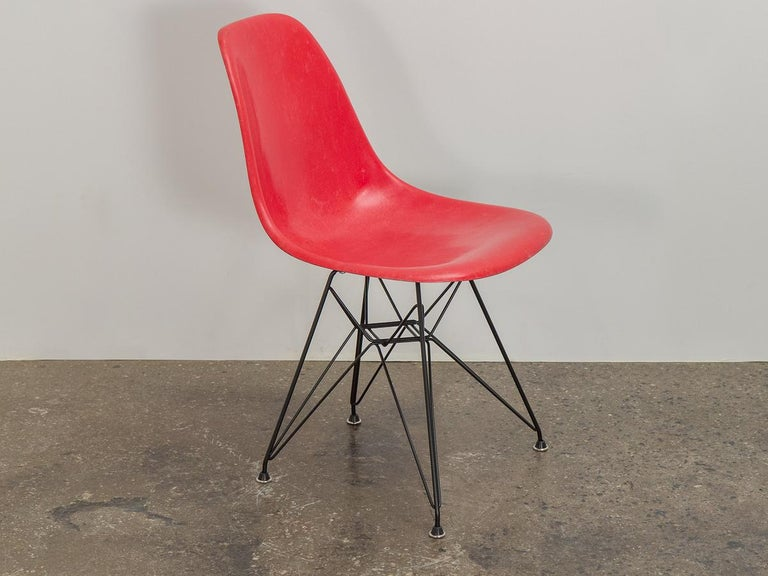 Mid-Century Modern Eames for Herman Miller Crimson Red Fiberglass Shell Chair For Sale