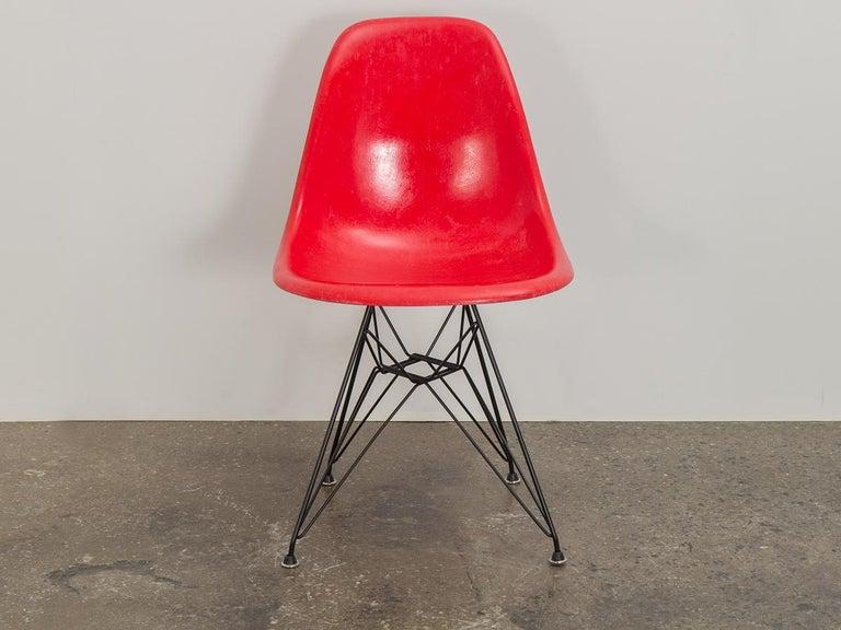 American Eames for Herman Miller Crimson Red Fiberglass Shell Chair For Sale