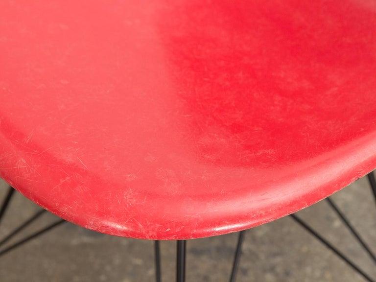 Mid-20th Century Eames for Herman Miller Crimson Red Fiberglass Shell Chair For Sale