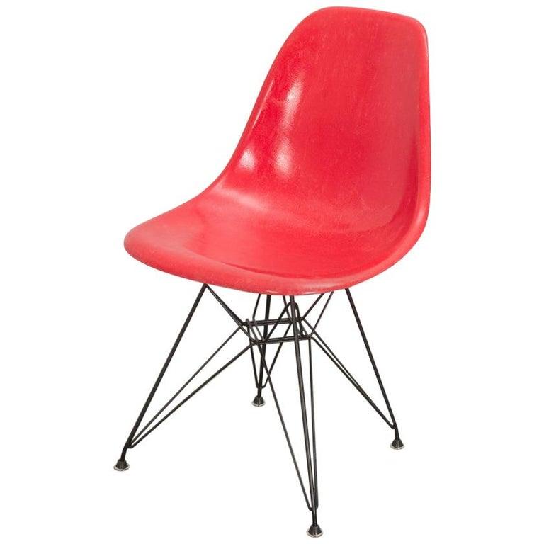 Eames for Herman Miller Crimson Red Fiberglass Shell Chair For Sale